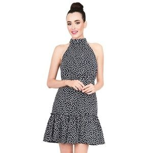 Betsey Johnson Dots For Days Navy Halter Dress NWT